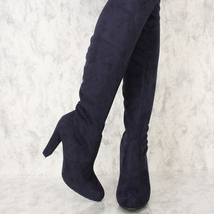 Shoes - Navy Suede Thigh High Boots Over The Knee Boots Ch